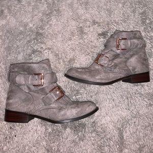 Grey felt booties